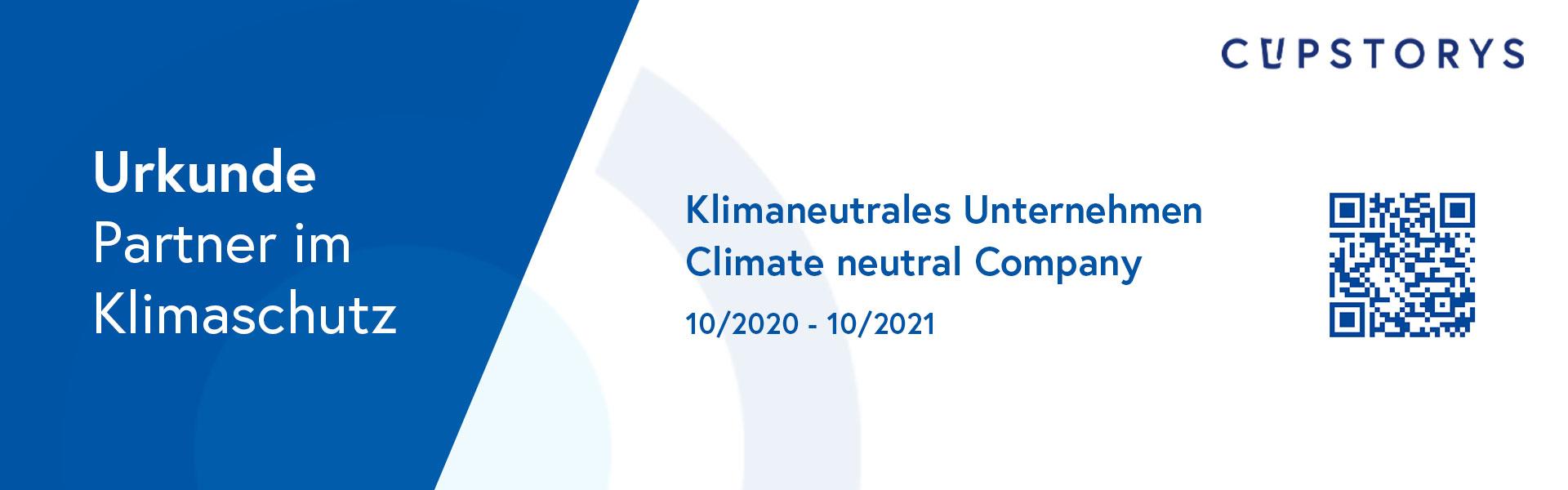 Klimaneutrale Unternehmen bei cupstorys.com